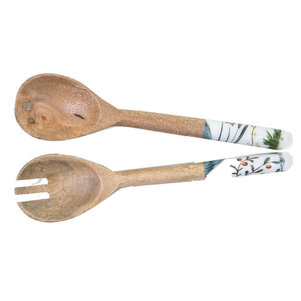 byRoom  Salatbesteck aus Mangoholz Blue/White Crane