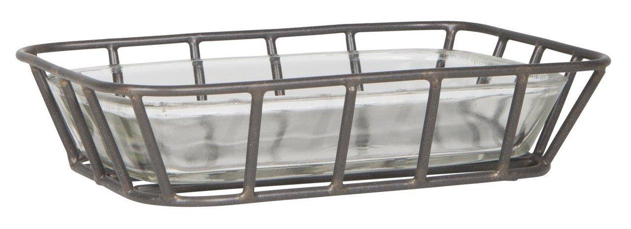 Ib Laursen Seifenschale Glas mit Metallständer