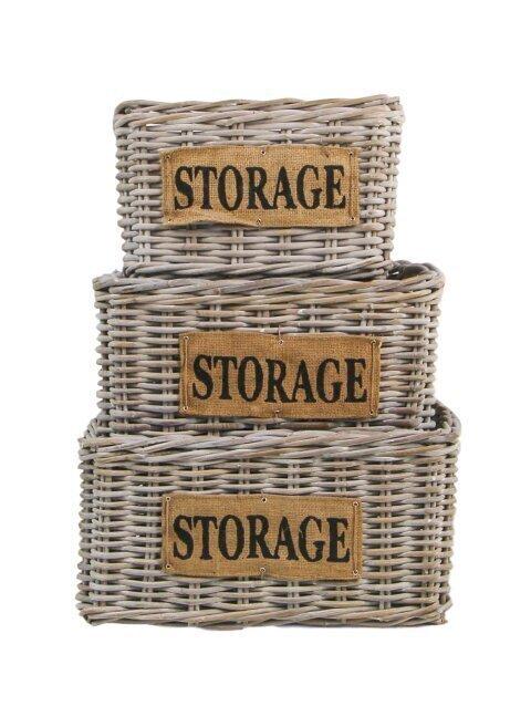skandeko 3er Korb Ser Rattan Storage