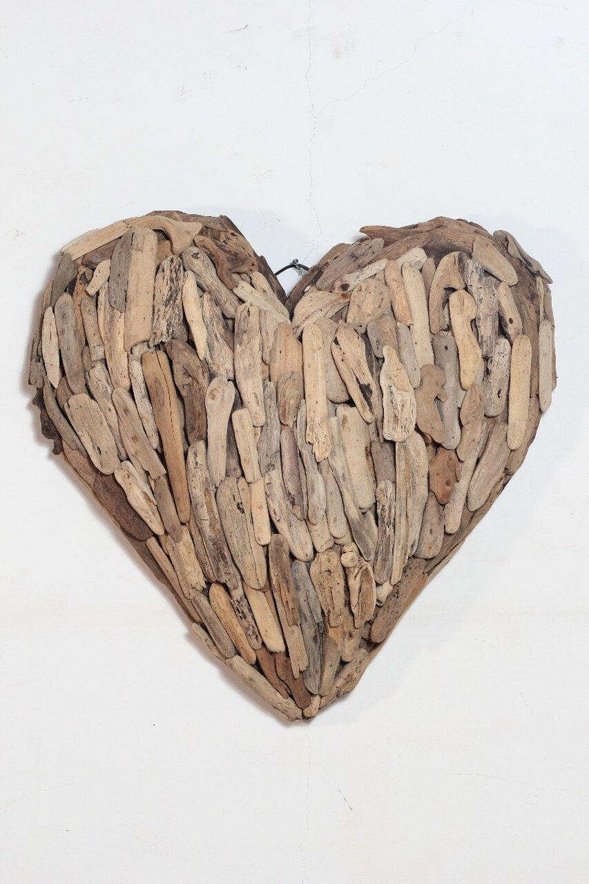skandeko Deko Herz Wanddeko aus recyceltem Holz