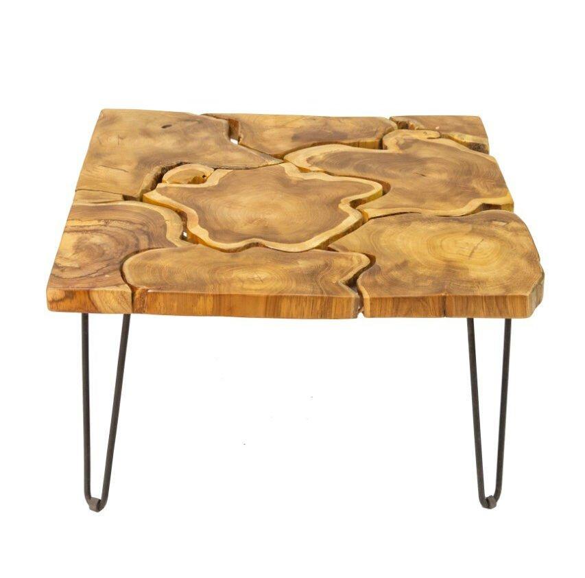 skandeko Quadratischer Couchtisch aus recyceltem Holz