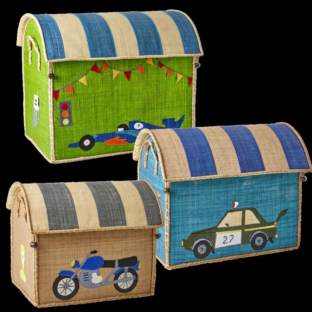 RICE Spielzeug Aufbewahrung Behälter 3er Set Rennwagen