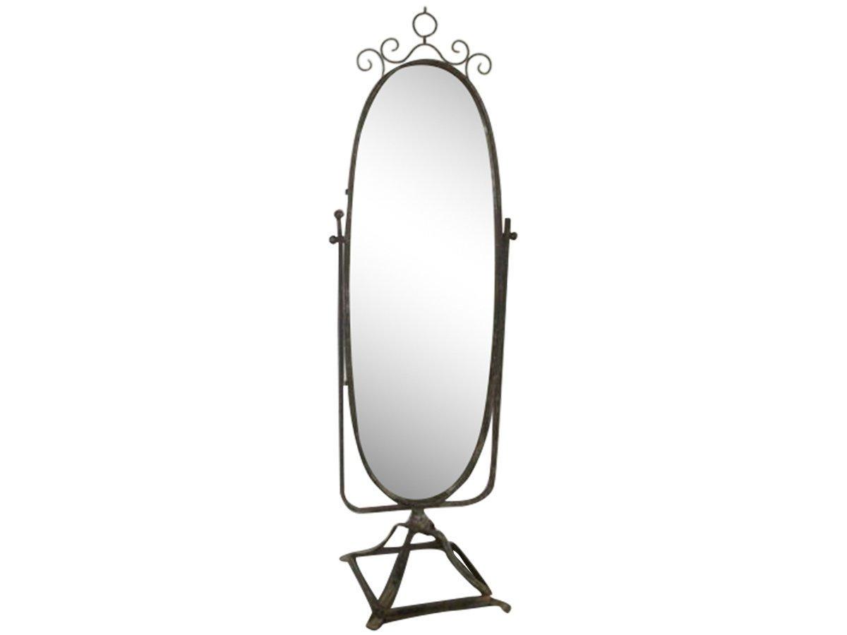 Chic Antique Stand Spiegel auf Fuß oval Antik schwarz