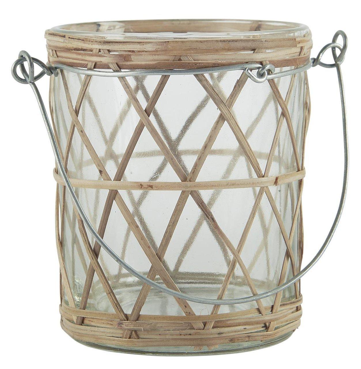 Ib Laursen Teelichthalter Metallhenkel Bambusgeflecht