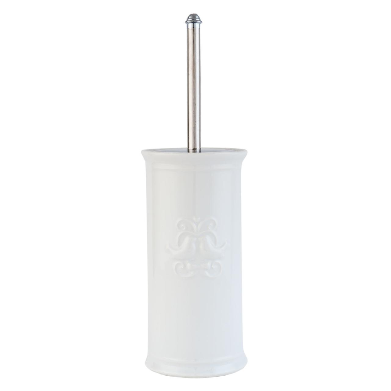 Clayre & Eef Toilettenbürstengarnitur Keramik weiß
